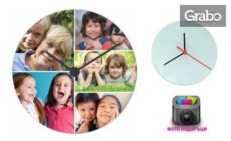 Правоъгълен кристал или стенен часовник с ваша снимка или послание по избор