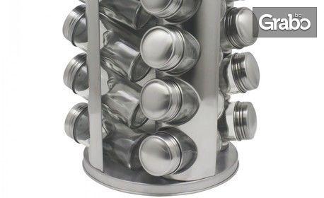 Комплект с 16 стъклени бурканчета за подправки на въртяща се основа Zephyr ZP ZP 1217