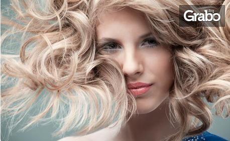 Измиване на коса с продукти на L'Oréal, плюс нанасяне на ампула и оформяне на прическа със сешоар