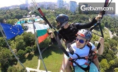 Тандемен полет с парапланер над Морската градина в Бургас, плюс HD заснемане