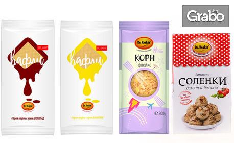 Вафла без захар, крекери, натурален шоколад, сусамов тахан или хрупкаво мюсли