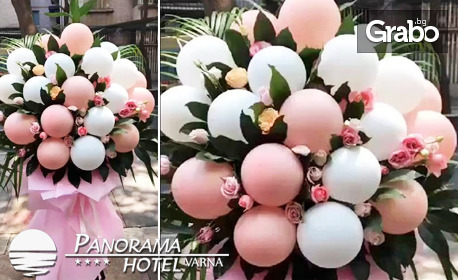 Изненадай с Paris Balloons Bouquet! Френски букет с естествени цветя и балони