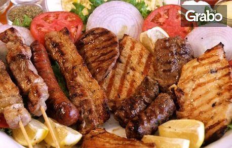 3кг хайдушко плато! Свински пържолки, джолан, крилца, кълцаница, наденички, картофки, сос