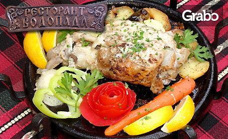 Джулбастия със свински джолан на сач или сиромашки пилешки сач