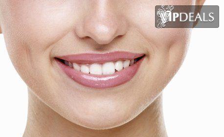 Kабинетно избелване на зъби, почистване на зъбен камък с ултразвук и полиране с Air Flow