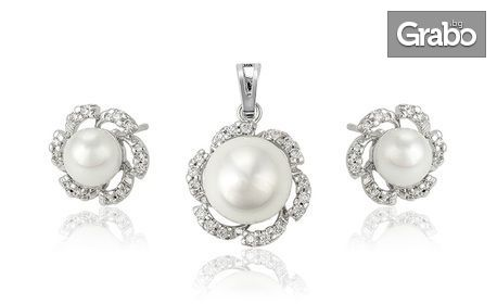 "Комплект колие и обеци ""Елегантна перла"" със златно покритие, перли и кристални циркони"
