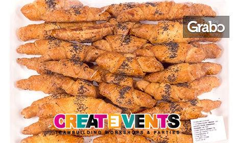 За вашето парти! 80 или 160 броя домашни френски кифлички с кашкавал, сирене, масло и маково семе, от CreatEvents