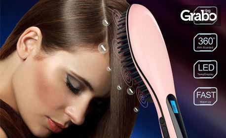 Електрическа четка за безвредно изправяне на коса с керамично покритие Fast Hair Straightener - zm 1008, модел 2018г