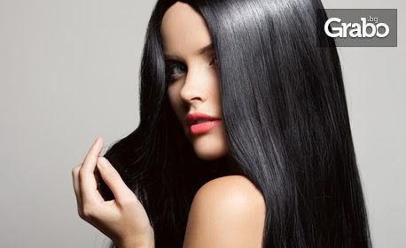 Терапия за коса с хайвер с продукти на JFX Factor, плюс изправяне със сешоар