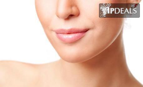 Безиглено влагане на хиалуронова киселина за уголемяване на устни или за запълване на бръчки