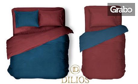 Единичен или двоен двулицев спален комплект от ранфорс в червено и синьо