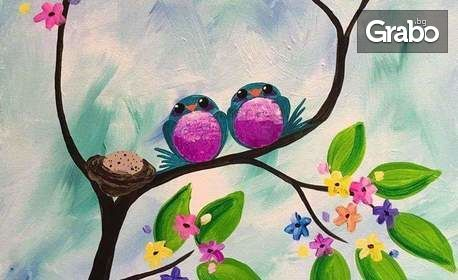 Забавление за деца! 3 часа рисуване с акрилни бои върху платно, плюс натурален сироп