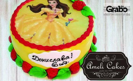Домашна торта с фотодекорация със захарно тесто - по избор от каталог