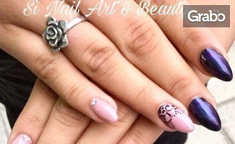 Ноктопластика с гел Cryastal Nails, лакиране с гел лак и 2 декорации, плюс поддръжка