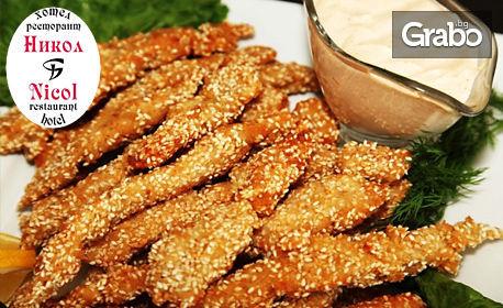 1.5кг плато с пилешки флейки с корнфлейкс и сусам, млечен сос и пресни пържени картофки