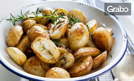 3кг хапване за Гергьовден за вкъщи! Агнешко месце, картофки соте, дроб сарма, зелена салата и хлебчета
