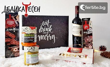 """Подаръчна кутия """"Коледа"""" - вино, разядки, два вида колбаси и бонбони Merci"""