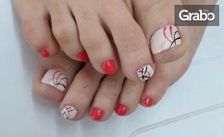 Маникюр или педикюр с гел лак и декорации, поставяне на гел върху естествен нокът или ноктопластика