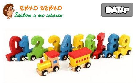"""Дървено детско влакче """"Научи цифрите"""" с 12 весели вагончета"""