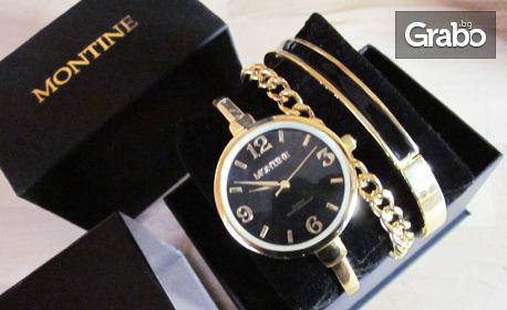 Дамски часовник Montine с 2 гривни, плюс кожен калъф за банкови карти Friedrich с RFID защита против кражба на данни