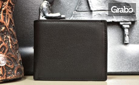 Мъжко портмоне от естествена кожа в черен цвят