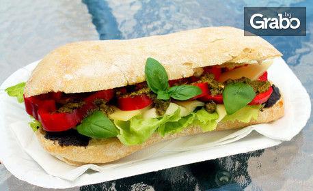 Ароматен сандвич по избор с прясно изпечена чабата, плюс домашна лимонада
