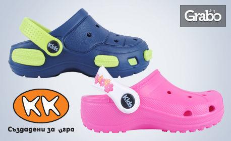 Чифт детски чехли по избор - сини, цикламени или двуцветни, или джапанки - сини или розови