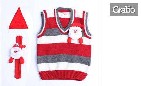 Бебешки или детски пуловер с коледен мотив - в размер по избор, плюс шапка и гривна