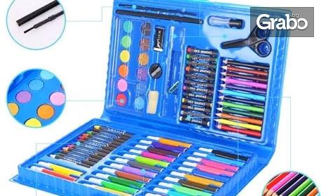 Детски комплект за рисуване с 86 части в куфарче