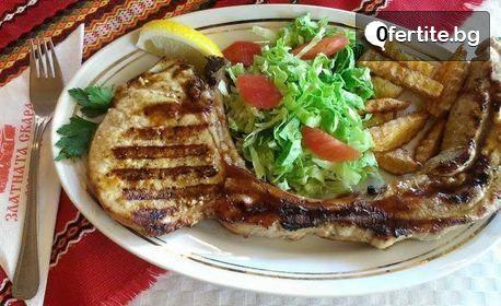 Хрупкави пилешки хапки, сос, картофки и пърленка, или Гурмански ушипци и Урнабес