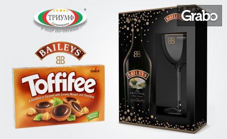 700мл Baileys Biscotti Flavour с чаша и шоколадови бонбони Toffifee