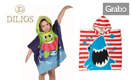 Детско хавлиено пончо за плаж, с дизайн по избор
