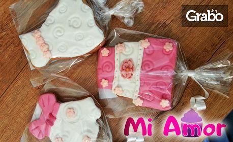10 броя ръчно изработени меденки със снимка на клиента или тематична украса от захарно тесто