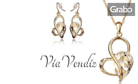 """Колие и обеци """"Венера"""" с австрийски кристали и 18K жълто златно покритие"""
