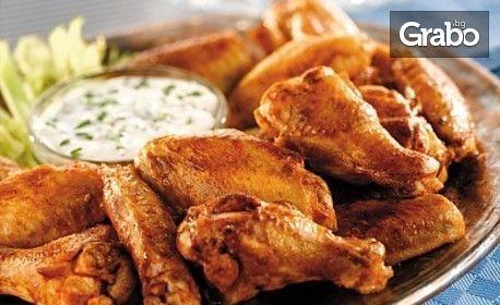 1.5кг плато! Пилешки парти бутчета и крилца, пържени пресни картофки, сос барбекю