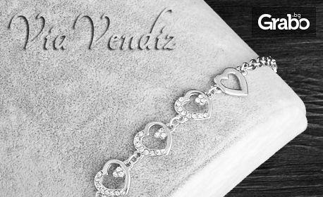 """Гривна """"Нежно сърце"""" със сребърно покритие и австрийски кристали"""