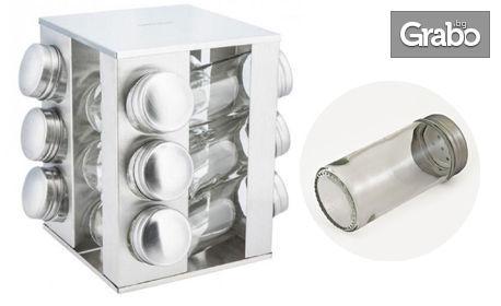 12 стъклени бурканчета за подправки на въртяща се стойка