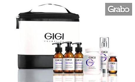 Изсветляваща клетъчна терапия при петна на лице с бадемов пилинг и нутри пептиди GiGi, плюс ултразвуково почистване и маска