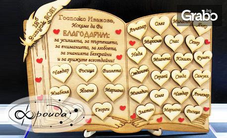За учителя с любов! Индивидуално изработен плакет от дърво