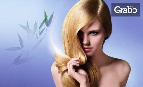 Ламиниране на коса, плюс възстановяваща терапия, подстригване и оформяне със сешоар