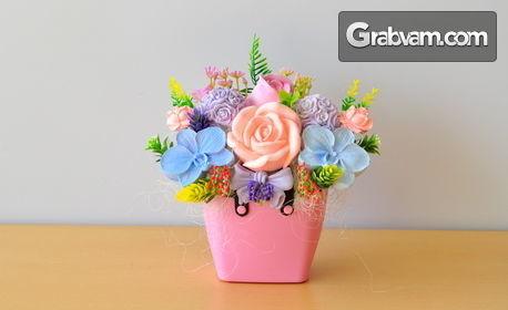 Декоративна кошничка с ароматизирани гипсови цветя