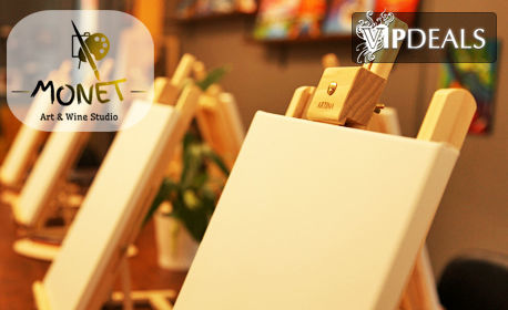 3 часа рисуване върху платно с напътствия от художник, плюс чаша вино и бутилка вода