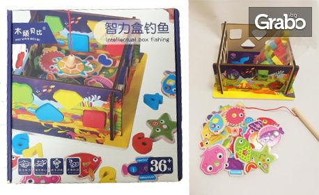 """Дървена детска играчка """"Риболов с магнитчета"""""""