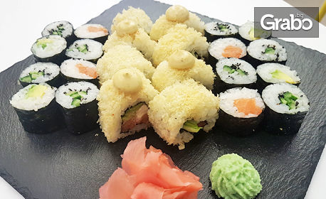 Хапни на място или вземи за вкъщи суши сет с 24 хапки