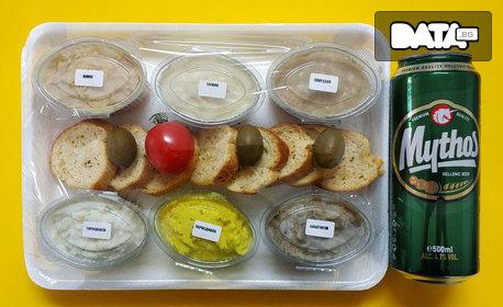 Шест вида гръцка разядка и хрупкави хлебчета със зехтин и риган, плюс бира Mythos