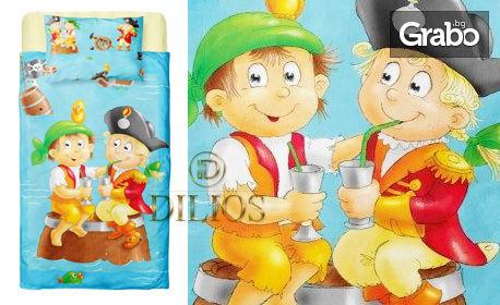 Детско спално бельо от ранфорс в 3 части със син цвят