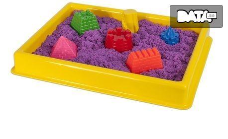 За малчугана! Комплект кинетичен пясък с 8 фигурки и голям басейн за игра