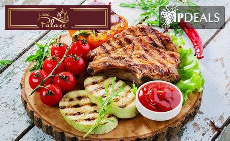 Хапване за дома! Основно ястие по избор и сотирани картофи или салата, плюс 2 пърленки