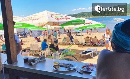 Плаж на язовир Искър! Ползване на чадър и шезлонг, плюс напитка по избор