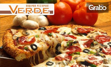 Голяма хрупкава пица, плюс десерт